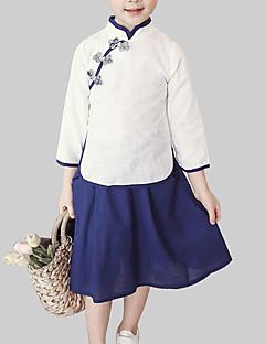 billige Tøjsæt til piger-Pige Tøjsæt Daglig I-byen-tøj Patchwork, Bomuld Forår Efterår Langærmet Kineseri Hvid Lyserød Rosa
