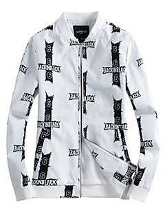 billige Herremote og klær-Polyester Trykt mønster Jakke Herre
