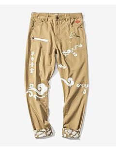 billige Herrebukser og -shorts-menns vanlige midterstigende mikro-elastiske chinosbukser, street chic broderte polyester vår sommer