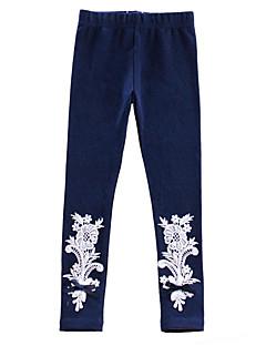 billige Bukser og leggings til piger-Pige Bukser Daglig Ensfarvet Blomstret, Bomuld Forår Simple Aktiv Blå Hvid Lyserød Grå Lilla