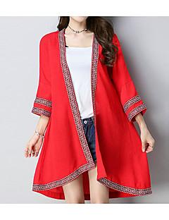 お買い得  レディースコート&トレンチコート-女性用 コート - 活発的 ソリッド, コットン プリント 刺繍