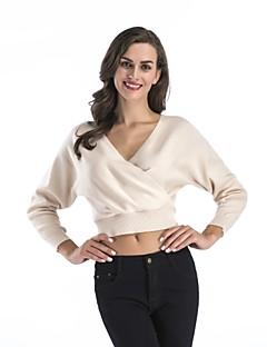 tanie Swetry damskie-Damskie W serek Pulower Solid Color Długi rękaw