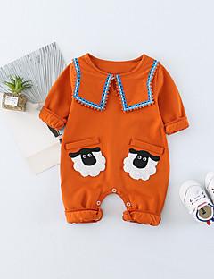 billige Babytøj-Baby Unisex En del Daglig Dyretryk, Bomuld Spandex Forår Sommer Halvlange ærmer Simple Aktiv Orange Lysegrøn
