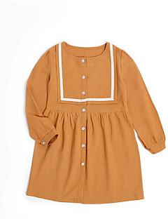 billige Pigekjoler-Pigens Kjole Daglig Ensfarvet, Polyester Sommer Langærmet Simple Orange