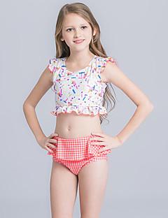 billige Badetøj til piger-Pige Sødt Aktiv Blomstret Badetøj, Nylon Halvlange ærmer Blå Hvid Lyserød