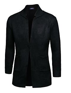 tanie Męskie swetry i swetry rozpinane-Męskie Kołnierzyk koszuli Rozpinany Solid Color Długi rękaw