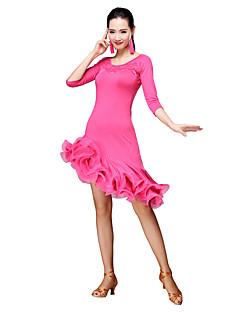 baratos Roupas de Dança Latina-Dança Latina Vestidos Mulheres Treino Fibra de Leite Mocassim Manga 3/4 Natural Vestido Calções