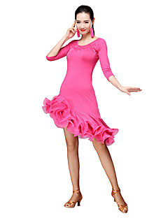 cheap Latin Dance Wear-Latin Dance Dresses Women's Training Milk Fiber Tassel 3/4 Length Sleeves Natural Dress Shorts