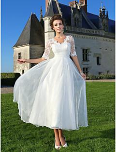 Χαμηλού Κόστους Δοκιμάστε το στο σπίτι-Δείγμα προϊόντος Γραμμή Α Λαιμόκοψη V Μέχρι τον αστράγαλο Οργάντζα / Διάφανη δαντέλα Φορέματα γάμου φτιαγμένα στο μέτρο με Χάντρες /