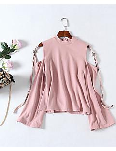 tanie Swetry damskie-Damskie Pulower - Plisy, Solid Color Długi rękaw