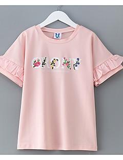 billige Pigetoppe-Pige Simple Ensfarvet Kortærmet Bomuld T-shirt