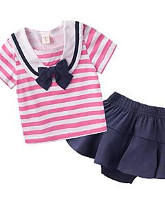 billige Sett med babyklær-Baby Pige Tøjsæt Daglig Stribet, Bomuld Forår Sommer Kortærmet Simple Aktiv Lyserød