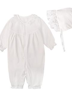 billige Babytøj-Baby Pige En del Daglig Ferie Ensfarvet, Bomuld Polyester Forår Sommer Langærmet Simple Aktiv Hvid Lyserød