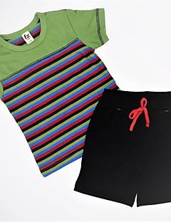 billige Tøjsæt til drenge-Drenge Tøjsæt Daglig Stribet Farveblok, Bomuld Sommer Kortærmet Afslappet Blå Grøn