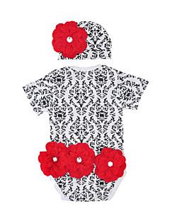 billige Sett med babyklær-Baby Pige Tøjsæt Daglig Ferie Geometrisk, Bomuld Sommer Kortærmet Aktiv Rød