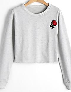 tanie Damskie bluzy z kapturem-Damskie Bawełna Długi rękaw Bluzy - Kwiaty, Nadruk