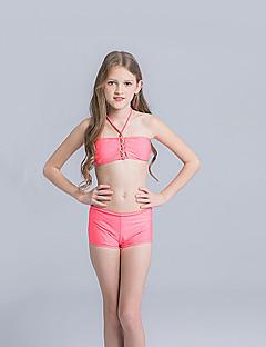 billige Badetøj til piger-Pige Sødt Aktiv Ensfarvet Badetøj, Nylon Uden ærmer Lyserød