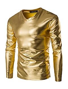 76497a9171ba Ανδρικά T-shirt Βασικό - Βαμβάκι Μονόχρωμο Λαιμόκοψη V Λεπτό   Μακρυμάνικο