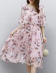 cheap Women's Dresses-Women's Work Holiday Sophisticated Street chic Shift Dress - Plaid Layered High Waist