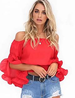 billige Overdele til damer-Bateau-hals Dame - Ensfarvet Bluse