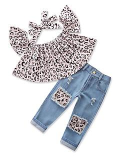 billige Tøjsæt til piger-Pige Tøjsæt Daglig I-byen-tøj Trykt mønster Leopard, Bomuld Polyester Sommer Uden ærmer Sødt Afslappet Grå