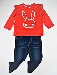 billige Tøjsæt til piger-Pige Tøjsæt Daglig Dyretryk Farveblok, Bomuld Forår Efterår Langærmet Afslappet Aktiv Rød