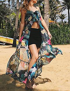 tanie SS 18 Trends-Damskie Plaża Luźna Pochwa Szyfon Sukienka - Kwiaty, Bez pleców Ramiączka Wysoka Talia Maxi