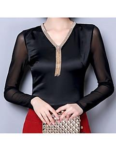baratos Blusas Femininas-Mulheres Camiseta Básico Paetês,Sólido
