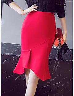 billige Kvinde underdele-Dame Havfrue Gynge Nederdele - Arbejde Ensfarvet