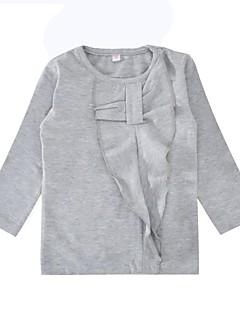 billige Pigetoppe-Pige T-shirt Daglig Ferie Ensfarvet, Bomuld Forår Efterår Langærmet Simple Grå