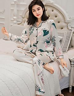baratos Pijamas Femininos-Mulheres Conjunto Pijamas-Estampado,Floral