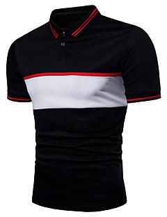 رخيصةأون بولو رجالي-رجالي بولو ستايل قياس كبير قبعة القميص - أساسي ألوان متناوبة / كم قصير