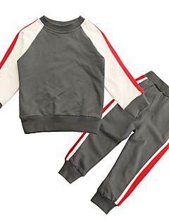 billige Tøjsæt til drenge-Drenge Tøjsæt Daglig Farveblok, Polyester Forår Langærmet Simple Grå
