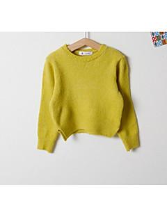billige Pigetoppe-Pige T-shirt Daglig Ensfarvet, Bomuld Forår Langærmet Aktiv Lyserød Beige Gul Lyseblå Marineblå