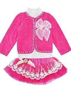 billige Tøjsæt til piger-Pige Tøjsæt Daglig Ferie Trykt mønster, Bomuld Polyester Forår Efterår Langærmet Sødt Lyserød Rosa