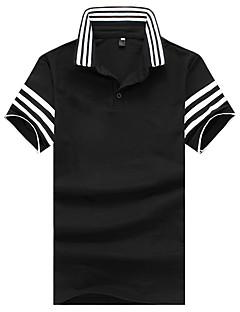 お買い得  メンズポロシャツ-男性用 ワーク - プリント パッチワーク Polo シャツカラー スリム ストライプ カラーブロック コットン