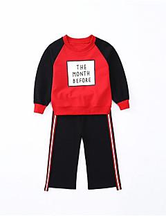 billige Tøjsæt til piger-Pige Tøjsæt Daglig Sport Ensfarvet Stribet Trykt mønster, Bomuld Polyester Forår Efterår Langærmet Simple Afslappet Sort Rød