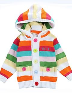 tanie Odzież dla dziewczynek-Garnitur / marynarka Bawełna Dla dziewczynek Codzienny Urlop Prążki Zima Jesień Długi rękaw Prosty Niebieski Rainbow