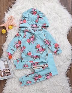 billige Sett med babyklær-Baby Pige Tøjsæt Daglig Blomstret, Bomuld Spandex Forår Langærmet Boheme Lyseblå