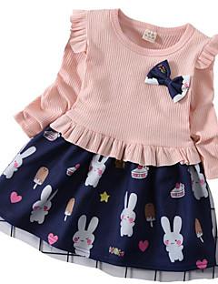 billige Babytøj-Baby Pige Blå & Hvid Ensfarvet / Trykt mønster Tunika / Krøllede Folder Langærmet Over knæet Kjole