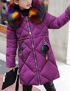 お買い得  女児ジャケット&コート-女の子 ソリッド ダウン&コットンキルティング ブラック パープル