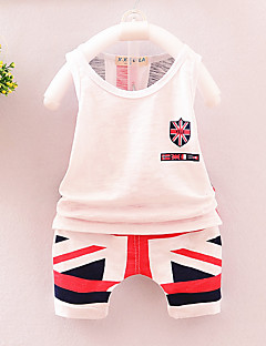 tanie Odzież dla chłopców-Dla chłopców Codzienny Urlop Nadruk Komplet odzieży, Bawełna Akryl Wiosna Lato Bez rękawów Urocza Aktywny White