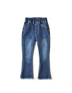 billige Bukser og leggings til piger-Ensfarvet Pigens Daglig Bomuld Bambus Fiber Forår Uden ærmer Kjole Vintage Blå