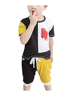 tanie Odzież dla chłopców-Dla chłopców Codzienny Geometryczny Komplet odzieży, Poliester Lato Krótki rękaw Podstawowy Niebieski Black