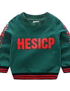 billige Hættetrøjer og sweatshirts til drenge-Drenge Daglig Trykt mønster Hættetrøje og sweatshirt, Polyester Forår Langærmet Aktiv Grøn Sort