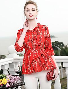 billige Dametopper-Bluse Dame-Blomstret,Trykt mønster Grunnleggende