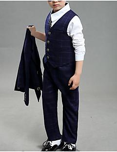 billige Tøjsæt til drenge-Drenge Tøjsæt Daglig Skole Ensfarvet Trykt mønster Ternet,Bomuld Polyester Forår Efterår Langt Ærme Afslappet Gade Navyblå