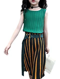 billige Tøjsæt til piger-Pige Daglig Stribet Tøjsæt, Polyester Forår Efterår Uden ærmer Sødt Grøn Gul