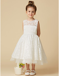 Cheap flower girl dresses online flower girl dresses for 2018 a line tea length flower girl dress lace tulle sleeveless jewel neck with lace by lan ting bride mightylinksfo
