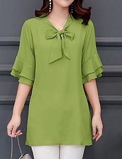 billige Bluse-Dame - Ensfarvet Basale Gade Bluse